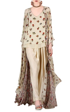 Beige printed pant set with jacket