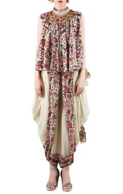 Beige printed top with dhoti pants