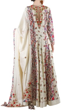 Beige printed anarkali set