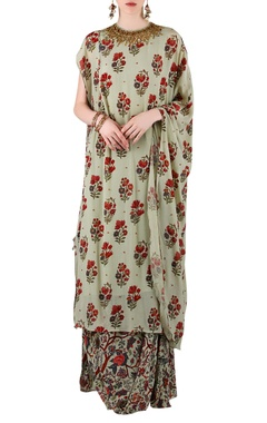 Sage green printed kurta with skirt