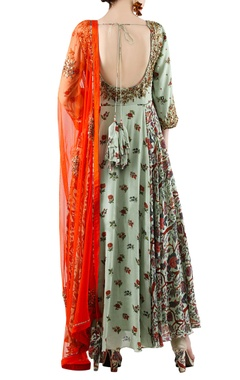 Sage green printed kurta set with orange dupatta