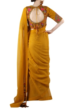 Mustard yellow printed sari