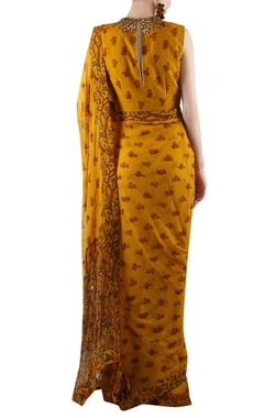 mustard yellow printed sari with embellishment