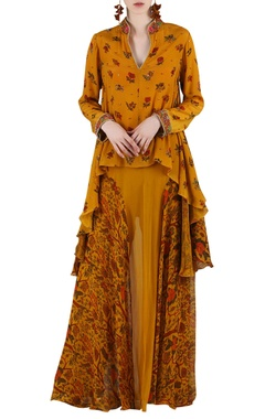 Mustard yellow printed & embellished skirt set