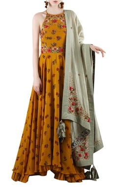 Mustard yellow & grey printed kurta set