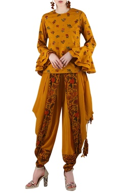 Mustard yellow printed pant set