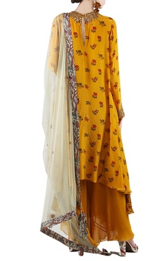 Mustard yellow & grey printed palazzo set