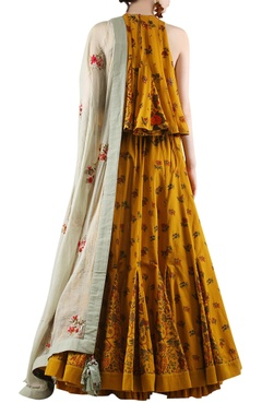 mustard yellow & grey printed lehenga set