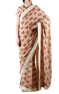 Peach printed & embellished sari