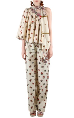 Beige printed pant set