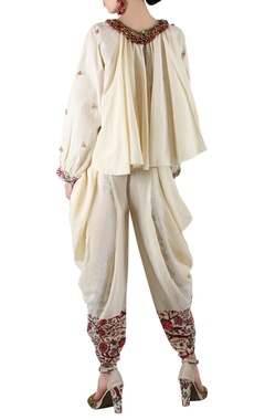 Beige printed blouse with dhoti pants