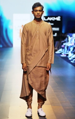 Sand brown draped kurta