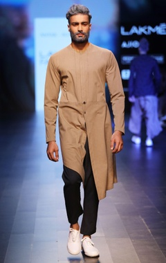 Antar-Agni brown & navy blue jacket-style kurta