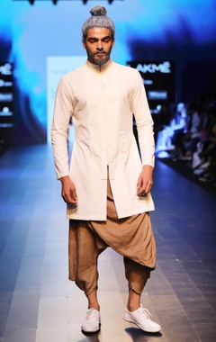 Antar-Agni Sand brown draped dhoti pants