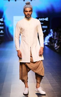 Sand brown draped dhoti pants