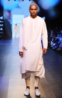 Antar-Agni White draped kurta