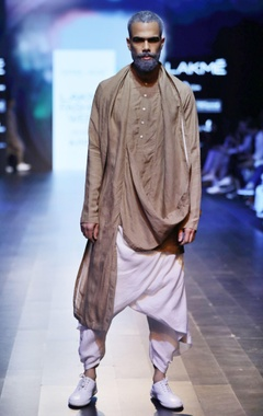 Antar-Agni Sand brown draped kurta