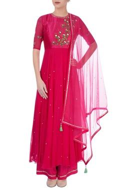 Hot pink embroidered kurta set