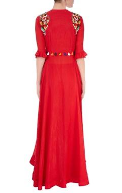 Red beadwork kurta & palazzos