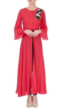 Red front slit kurta