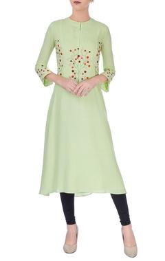 Pista green embroidered kurta