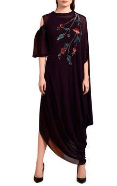 Purple embroidered maxi dress