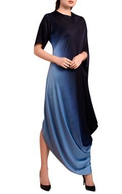 navy blue & light blue draped dress