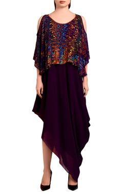 Purple draped maxi dress