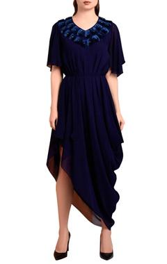 Navy blue draped midi dress