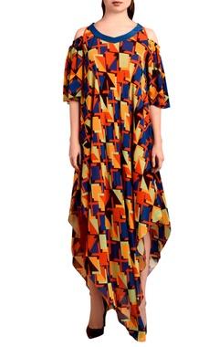 multi-colored asymmetric maxi dress