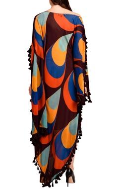 Wine printed maxi dress