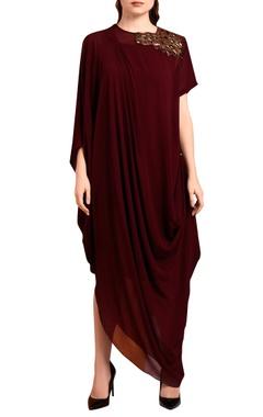Wine red draped maxi dress