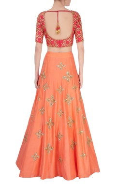 Orange & red lehenga set
