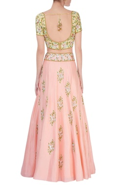 Peach & light yellow lehenga set