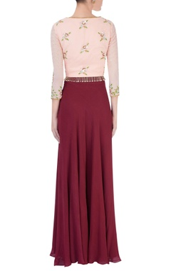 Peach high low kurta & wine palazzos