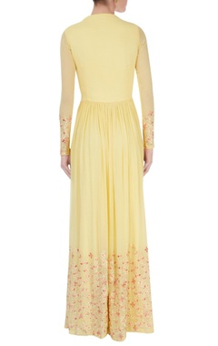Light yellow embroidered anarkali & dupatta
