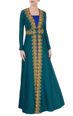 Royal blue maxi with emerald green jacket