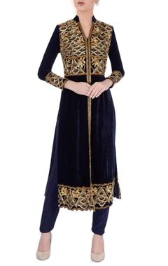 Midnight blue velvet kurta & pants