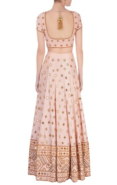 Rose quarts pink mirrorwork lehenga set