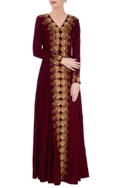 Wine velvet kurta with pants