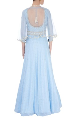 Powder blue embellished gown & cape