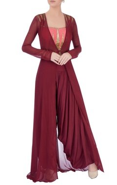 Marsala dhoti pants & coral top with jacket