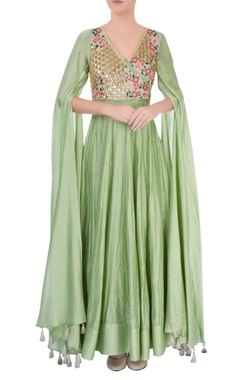 pastel green embellished anarkali gown