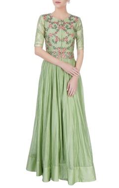 Pastel green embroidered anarkali dress