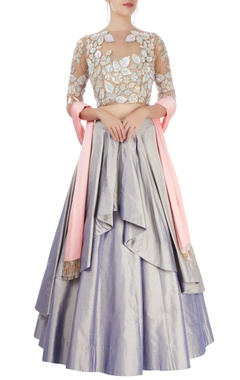 Lavender pleated lehenga set