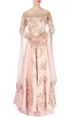Manish Malhotra Peach anarkali with skirt & dupatta