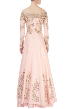 Peach anarkali with skirt & dupatta