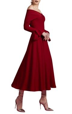 Vivid red off shoulder dress