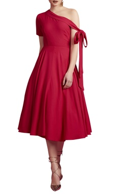 Pink one shoulder dress with a tie up