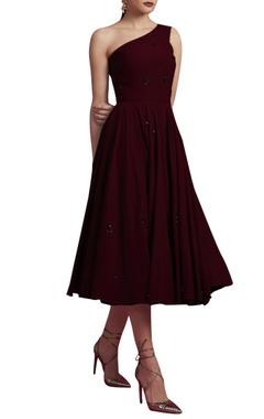 Deep maroon embroidered dress